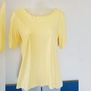 Talbots Yellow Scalloped Pima Top, Size Small